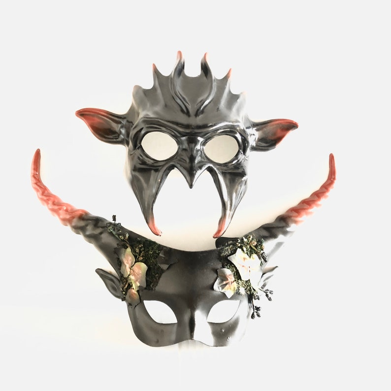 Black Goblin masks Couples Masquerade Mask Horns Mythical image 0