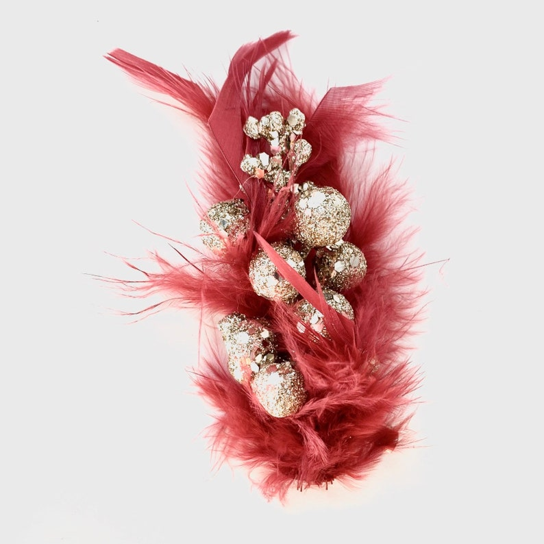Christmas hair accessory holiday hairclip feathers holly image 0
