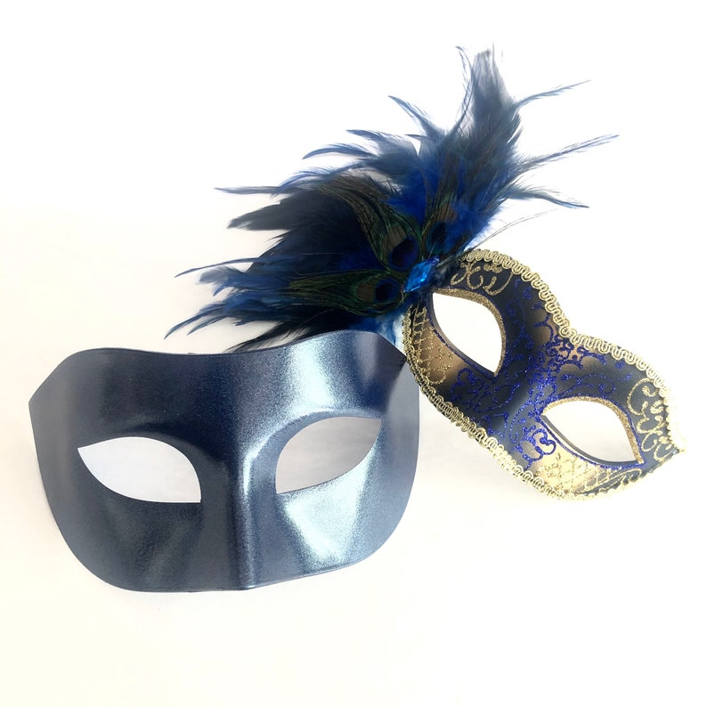 Deep Blue Theme masquerade mask Party Mask Mardi Gras Mask Masquerade Mask Red Flower Mask