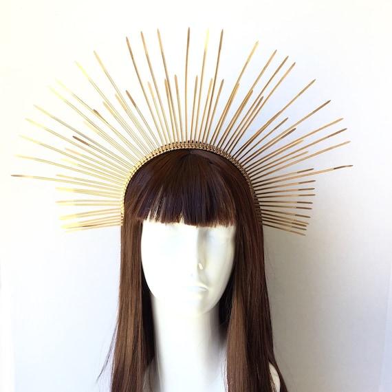 Gold Spiked Saint Mary sunburst headpiece Gold goddess headdress with purple stones Gold zip tie halo headpiece.