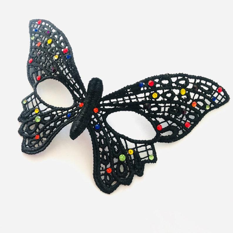 Butterfly mask children rainbow rhinestones girl lace mask image 0