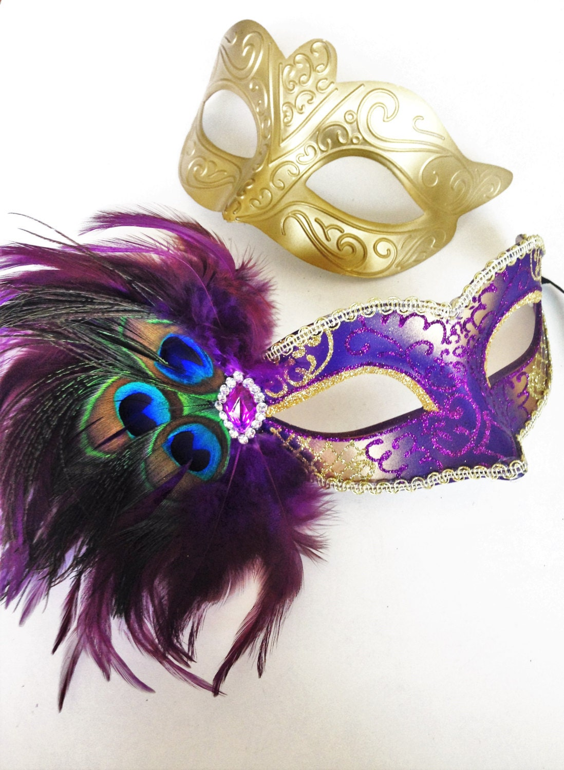 Venetian Couple Gold Purple Masquerade Costume Prom ...