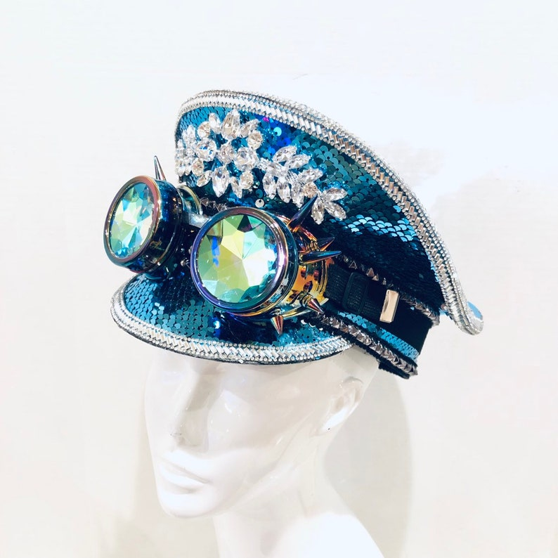 Turquoise Captain Hat with Sequin OPTIONAL Holographic goggle image 0