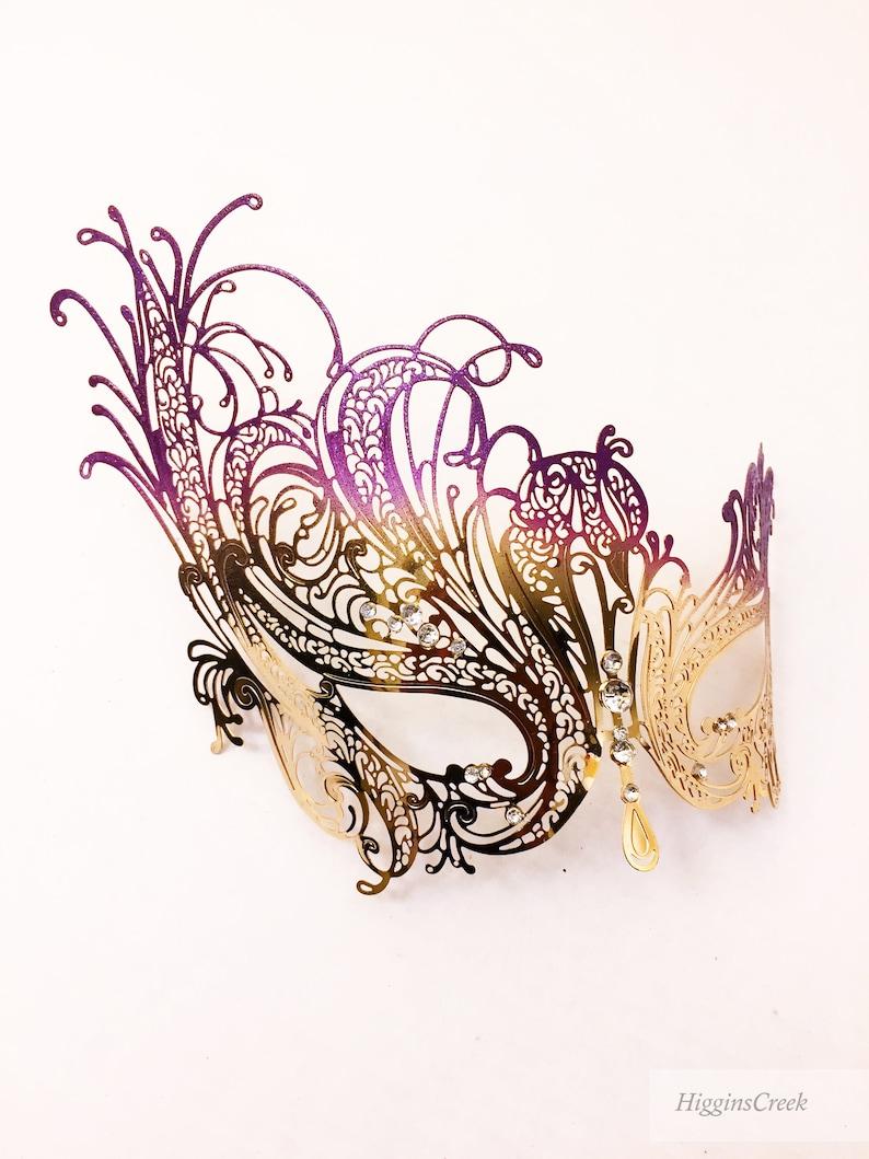 Purple Gold Masquerade Mask Mardi Gras Mask Mask Gold image 0