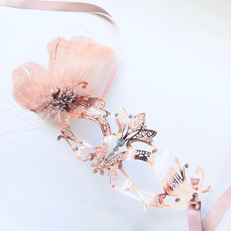 Rose gold masquerade mask women metal mask with feathers image 0