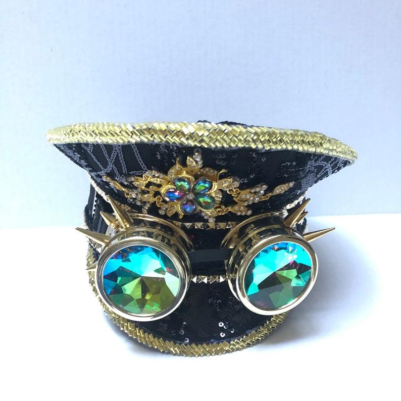 Black Gold Sequin captain hat gift idea holographic Captains Hat With Goggles popular sequin Hat unisex Head Wear Concert Hats Dance Hat