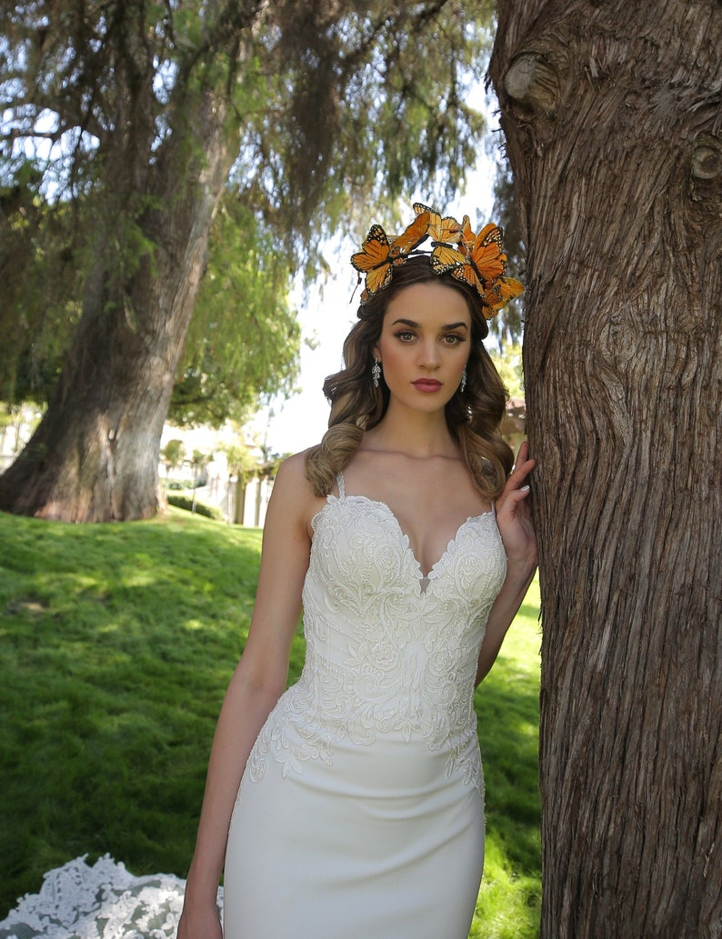 Monarch Bridal headpiece Goddess butterfly headpiece monarch image 0