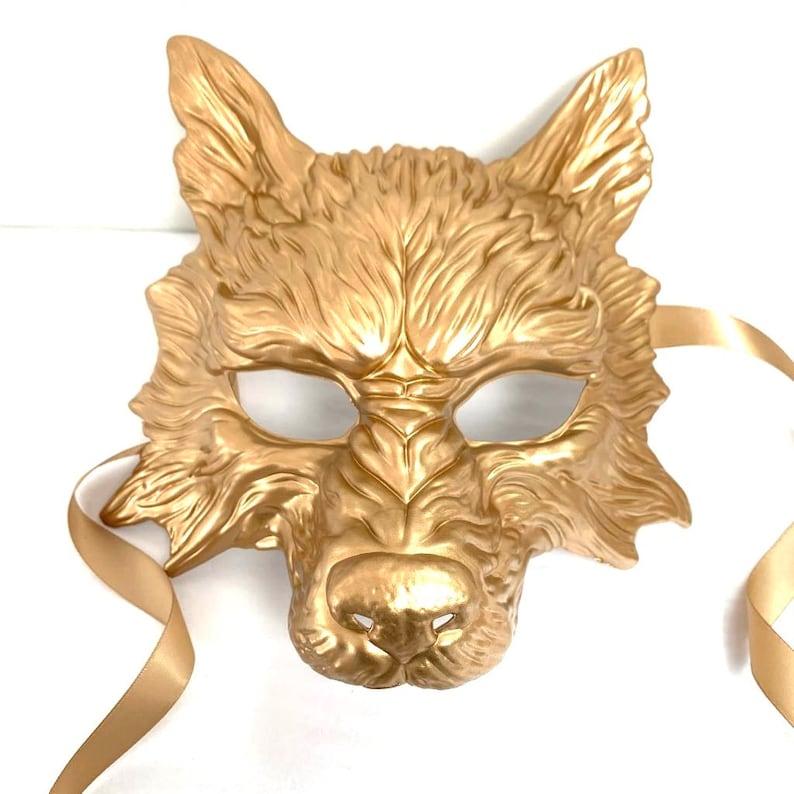 Gold werewolf mask Halloween werewolf costume mask wolf mask image 0