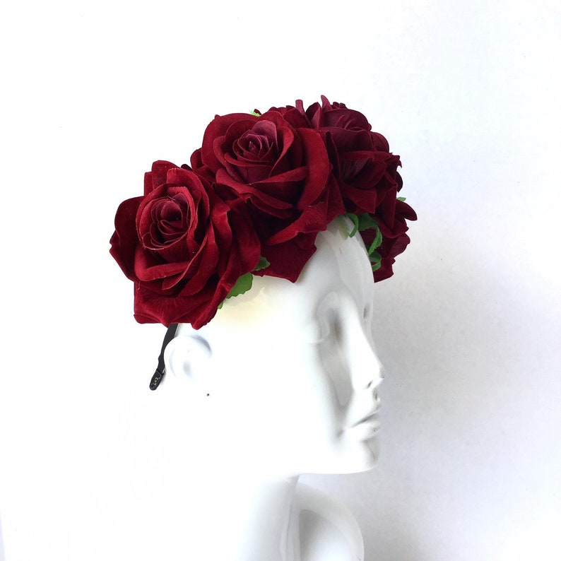 Dark Red Rose Hairpiece Rose Crown Photography Props Flower image 0