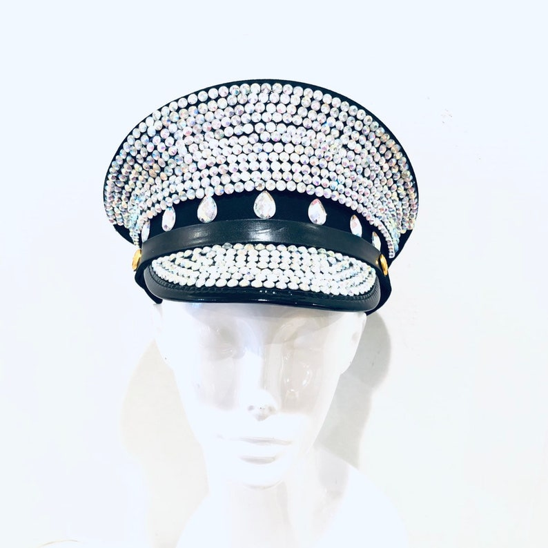 Iridescent sequin Captain Hat OPTIONAL Holographic goggles image 0