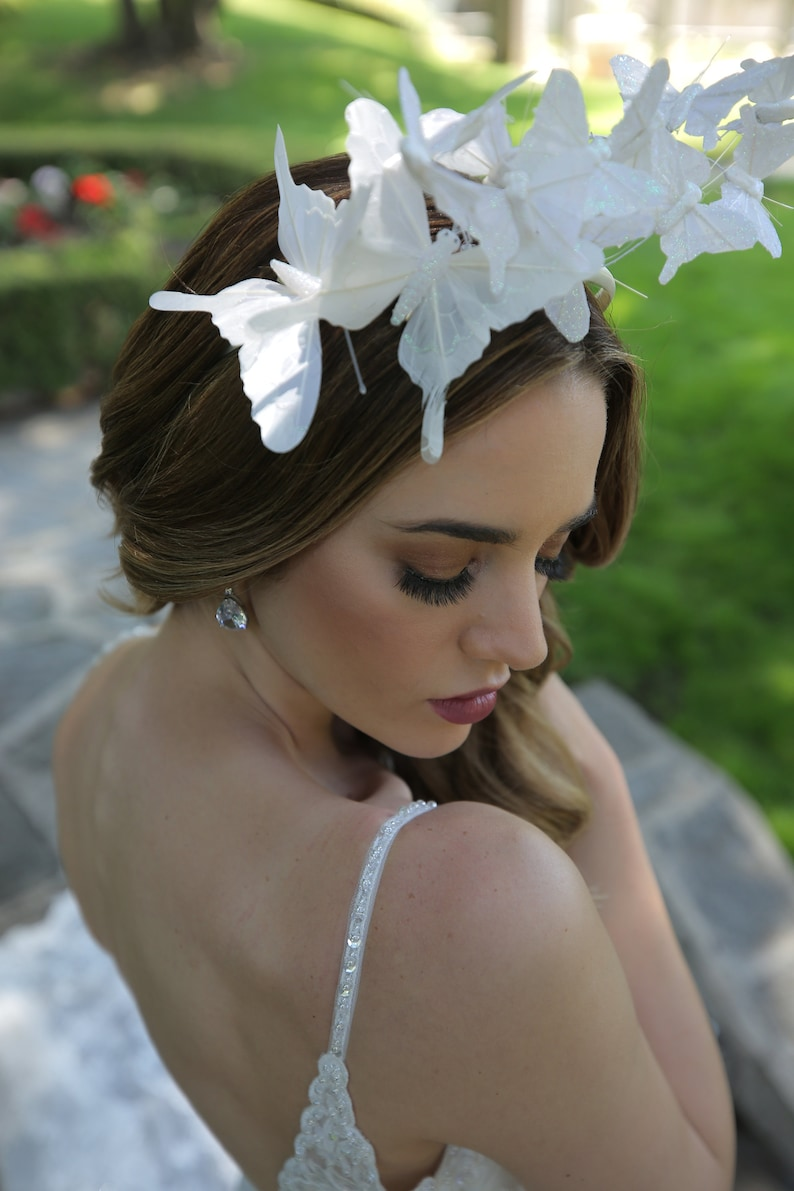 bridal headpiece White Butterfly headpiece white fascinator image 0