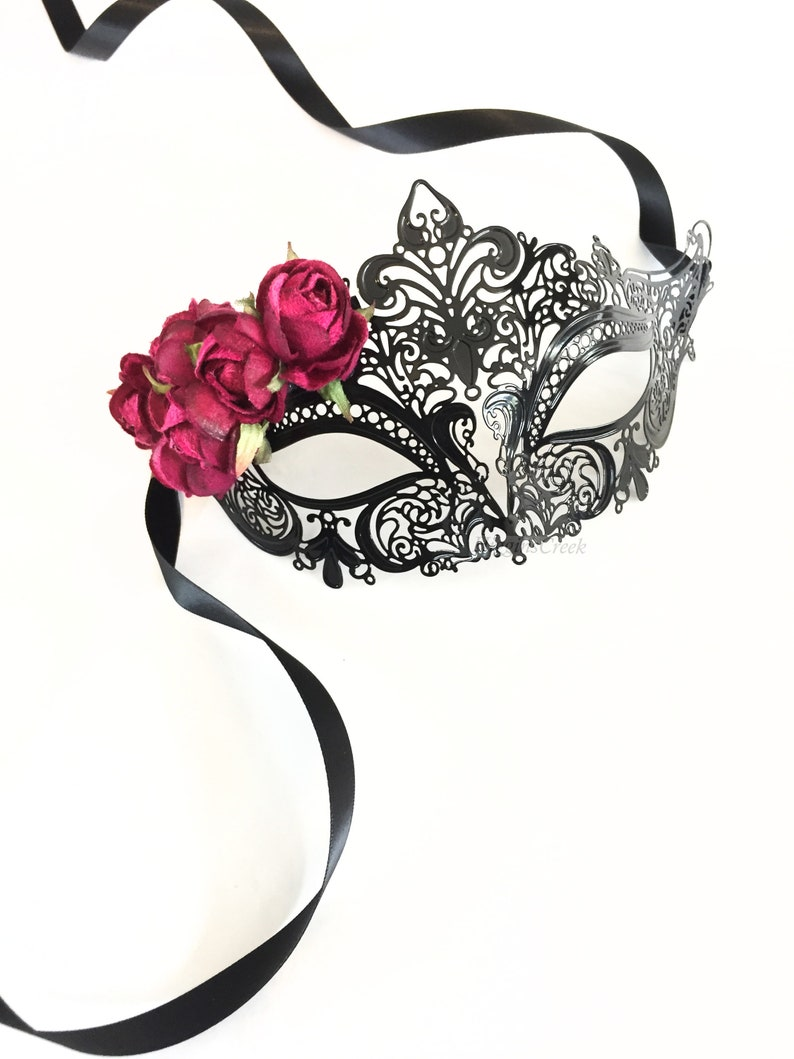 Masquerade mask woman l Flower masquerade mask l Mask with image 0