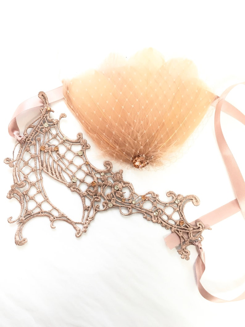 Rose Gold lace masquerade mask women matching feathers and image 0