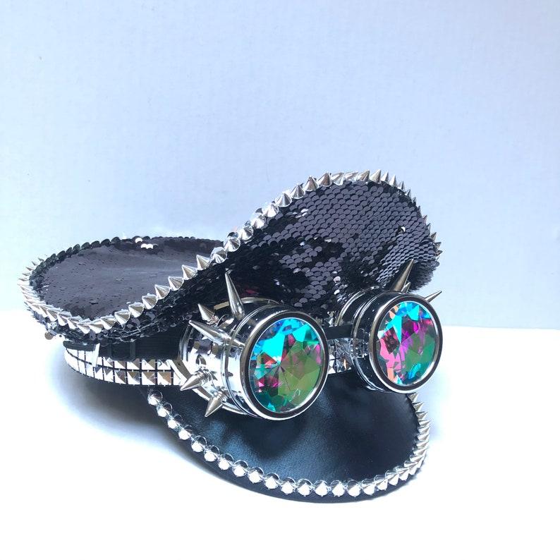 Black sequin captain hat novelty gift idea holographic image 0