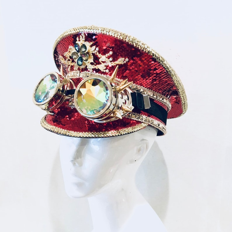 Red sequin Captain Hat OPTIONAL Holographic goggles rave Hats image 0