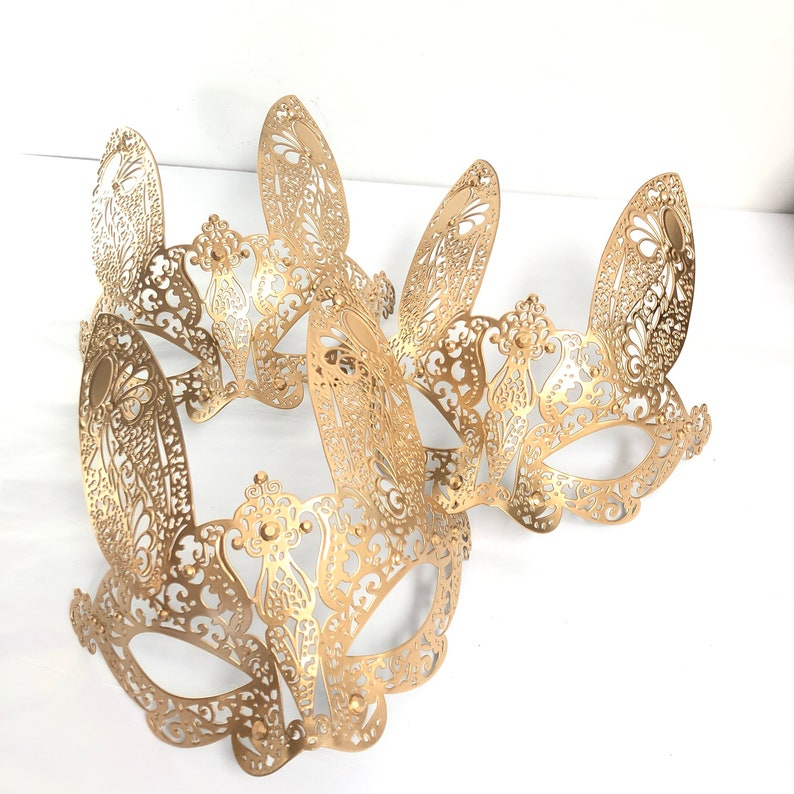 Bunny Mask HALLOWEEN BUNNY COSTUME Masquerade Mask Black Gold image 0