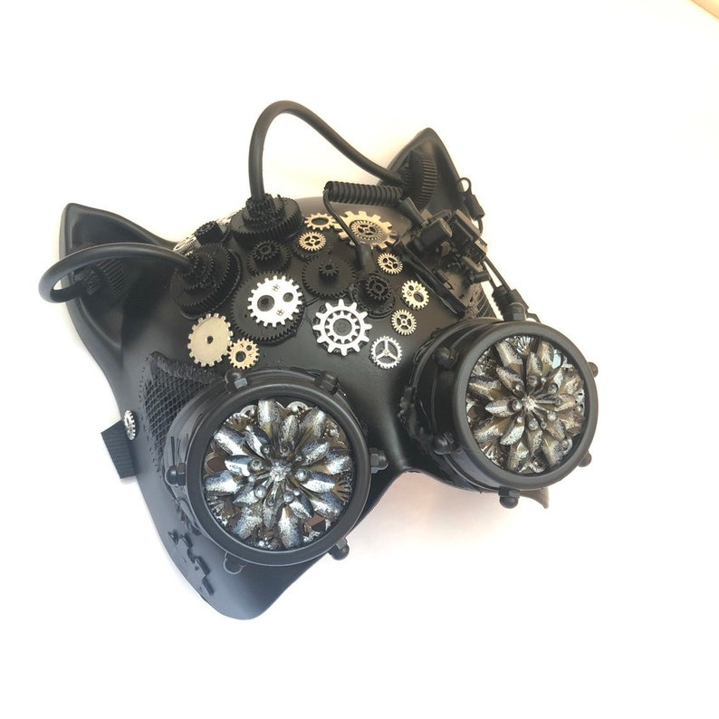 Steampunk Cat Mask with gears black steampunk masks burning image 0