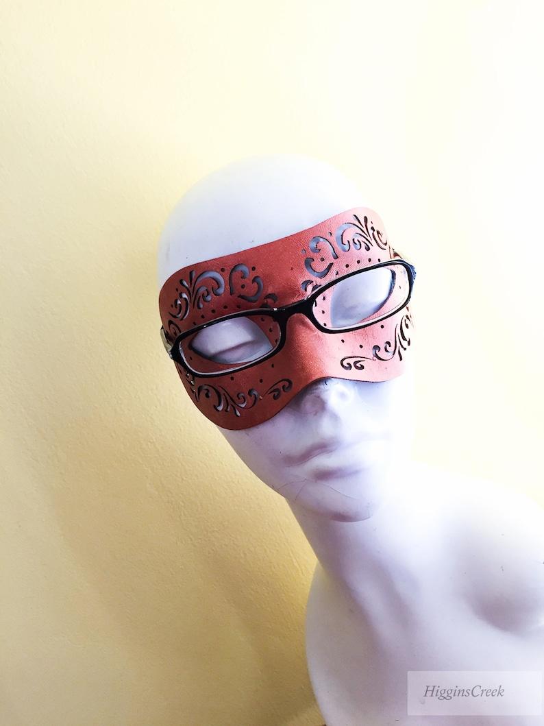 Mens Eyeglass wearer masquerade mask for eye glasses faux image 0