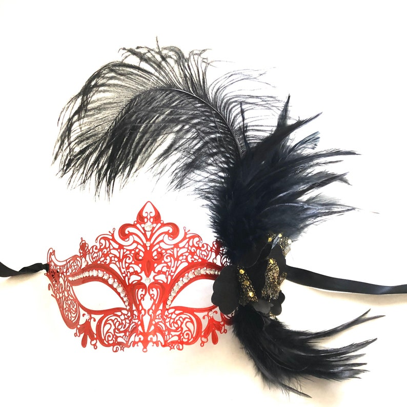 Red Masquerade mask woman black feather masquerade mask red image 0