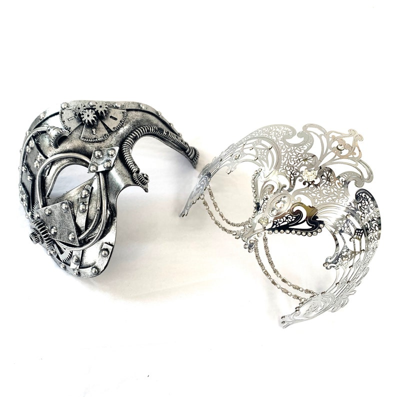 Steampunk couples masquerade mask set his and hers masquerade image 0