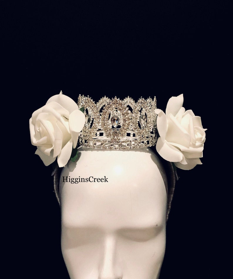 Queen Goddess Crown with white flowers Princess Crowns image 0
