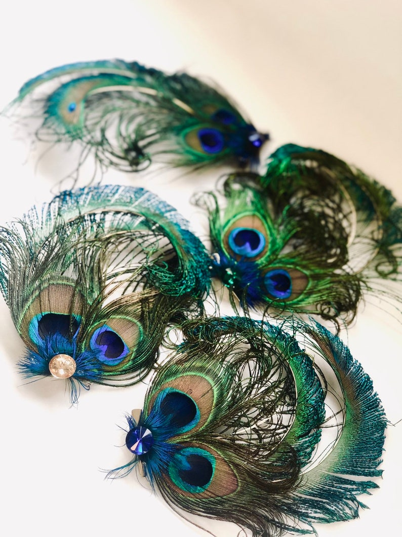 Peacock feather CLIP ON for Masks and Hair styling women image 0