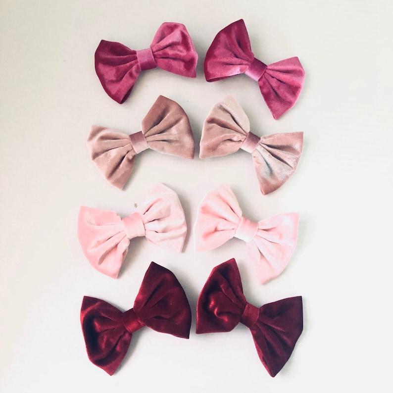 5 Handmade velvet bow clips kids hair clips children hair image 0
