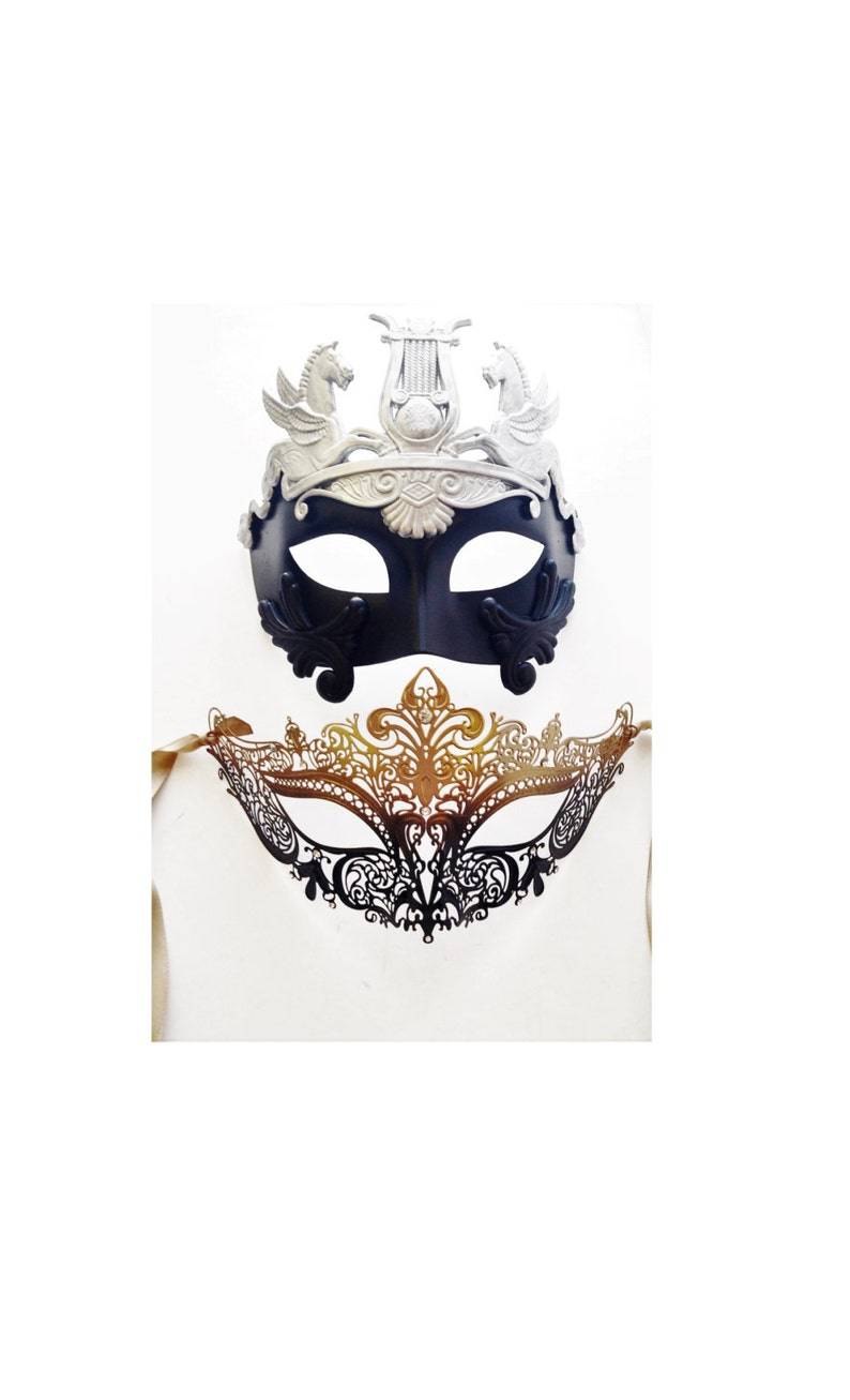 Silver and Gold Couples Mask Set Mardi Gras Mask Set for Couples Venetian Mask pair Masquerade Ball Masks
