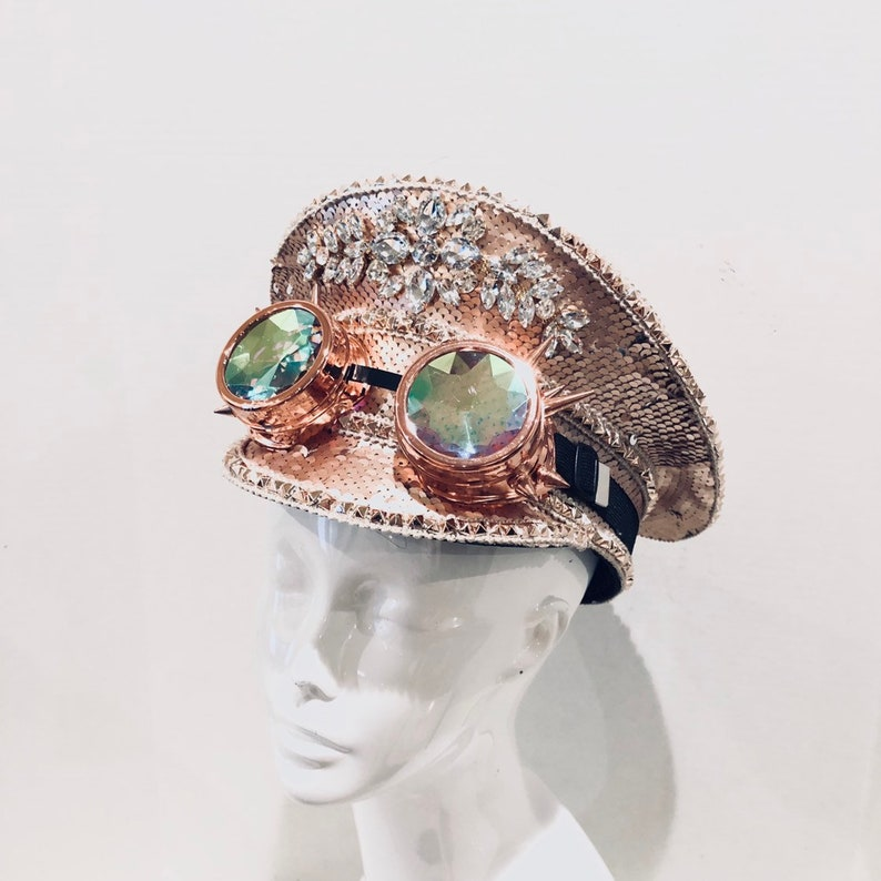 Rose Gold Captain Hat woman Sequin Rave Hat Holographic image 0