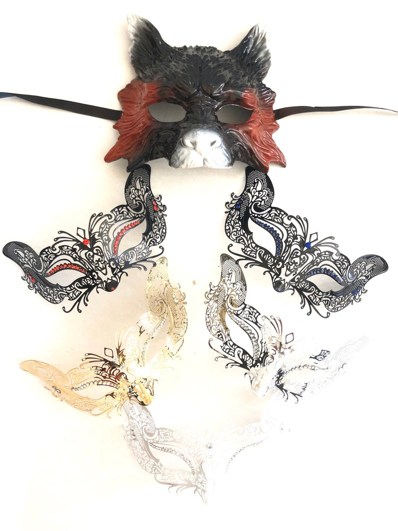 Wolf and fox animal Couples Masquerade MASKS His & Hers image 0