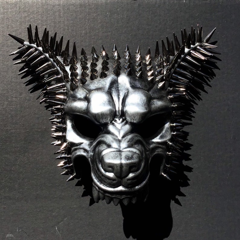 Mens spiked Animal halloween mask scary mad dog mask spikes image 0