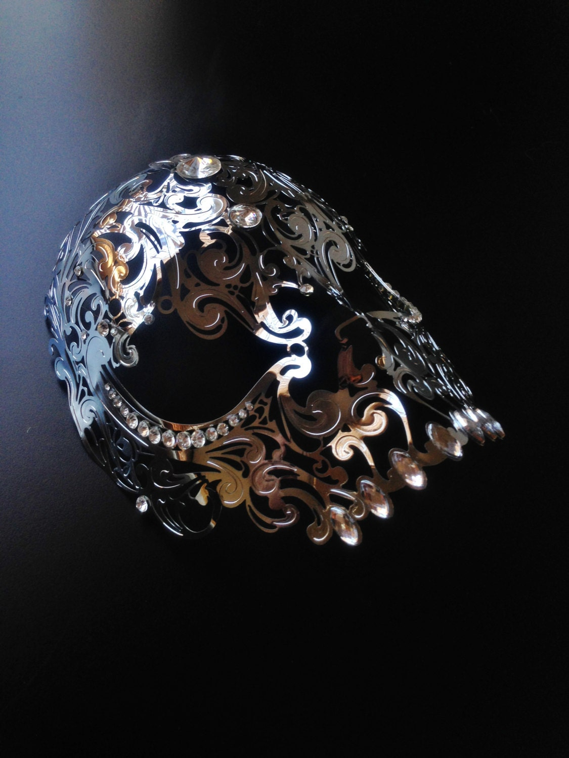 Mens Skull Mask Masquerade Metal Mask White Halloween Mask filigree Laser Cut
