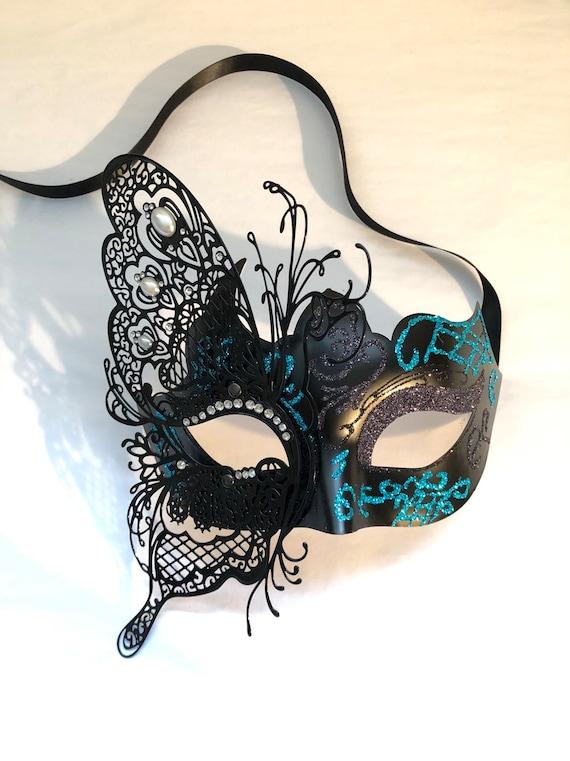Blue Rhinestone Women Mask Filigree Metal Laser Cut Masquerade Ball Prom Mask