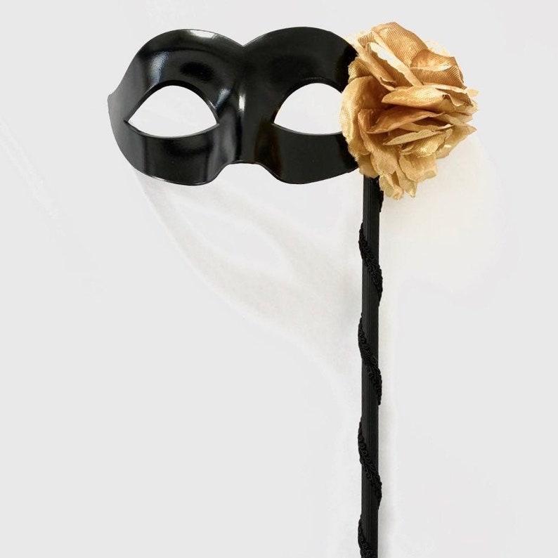 Black women masquerade mask handheld stick mask with gold image 0