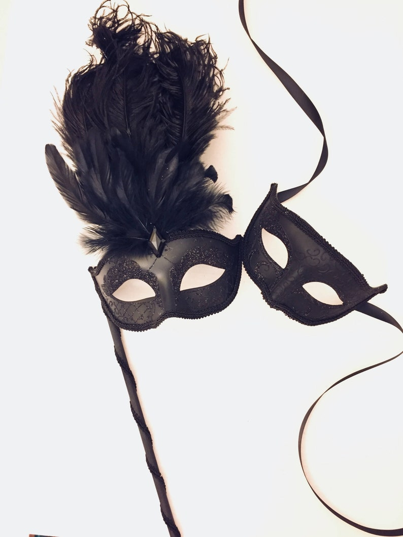 Black Tie event Masks Mens mask with Ribbons Black Couples masquerade mask set Women mask on stick
