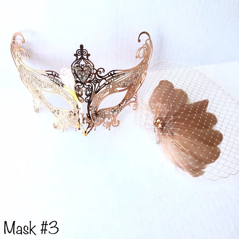 Rose gold masquerade mask women metal mask with feathers prom weddings