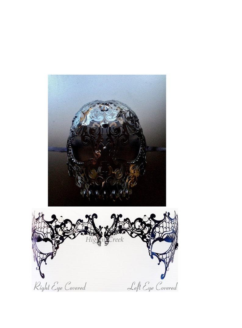 Black Metal Masquerade Mask One Eye Costume masks Black Masquerade Couples Masks Black Skull Mask Black Half Face Metal Mask