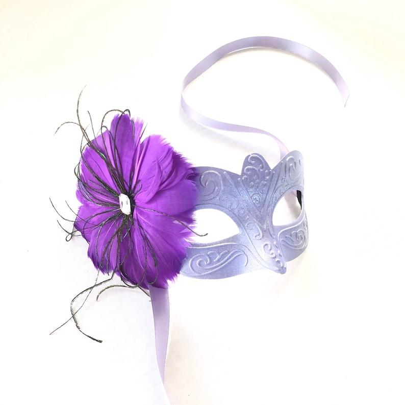 Lavender Purple feather Masquerade Mask Lavender masquerade image 0
