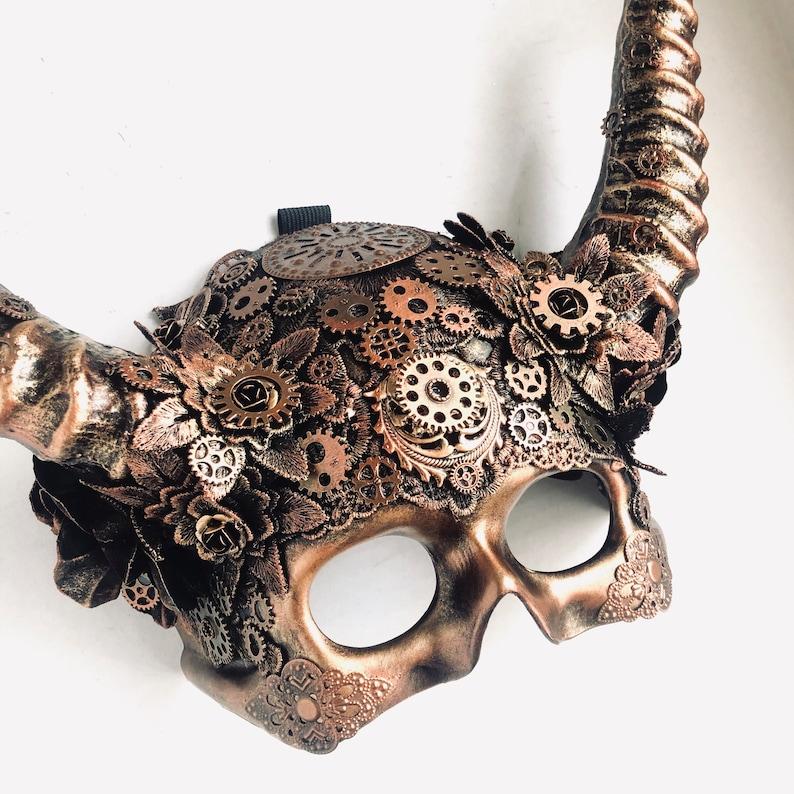 Animal skull steampunk Mens masquerade mask with horn Animal image 0