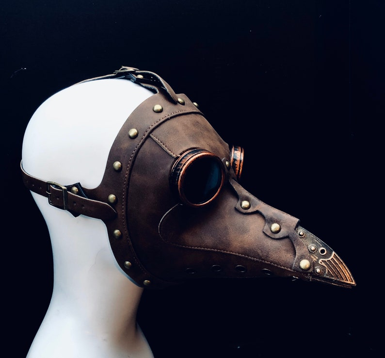 Brown Plague doctor Mask steampunk Jackdaw Bird beak Mask Brown