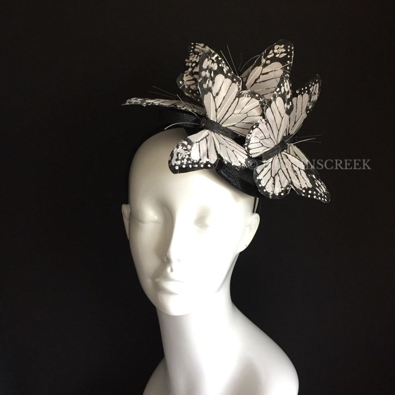 butterfly headpiece white monarch butterfly theme Kenturky image 0