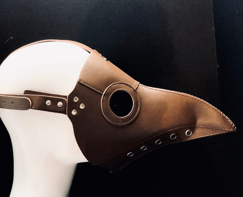 Brown PLAGUE DOCTOR Mask Steampunk Faux Leather Festival image 0