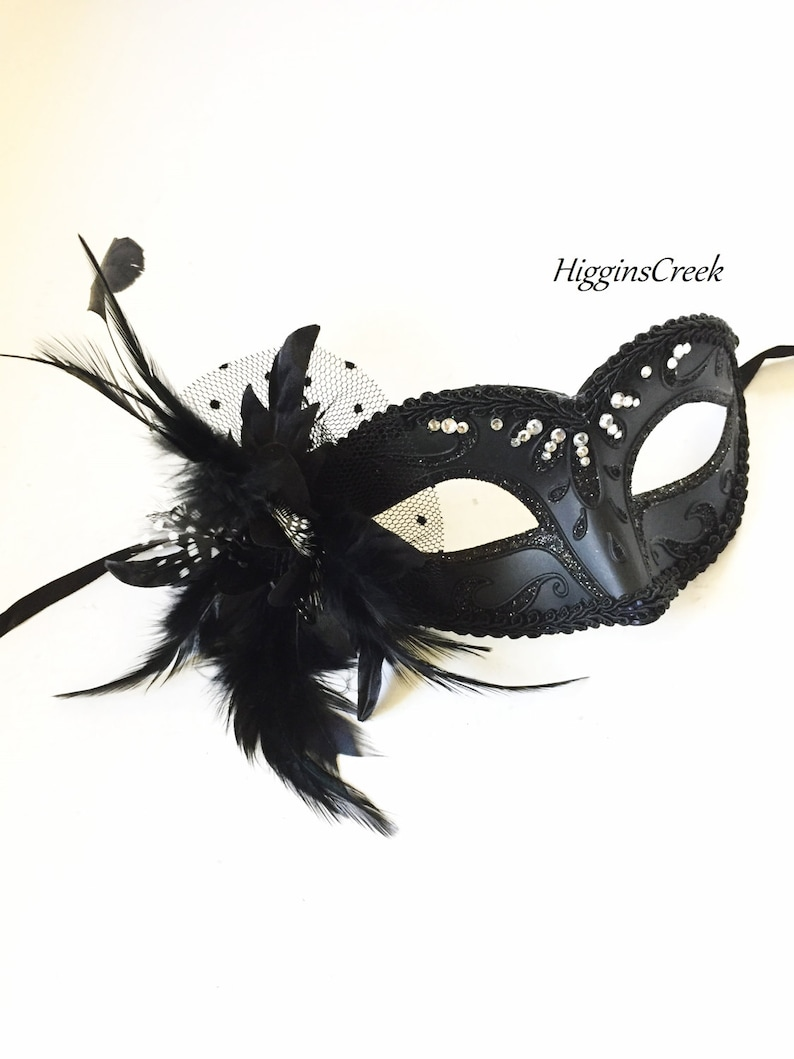 Black Womens masquerade mask with polka dot tulle black feather mask with diamond crystals
