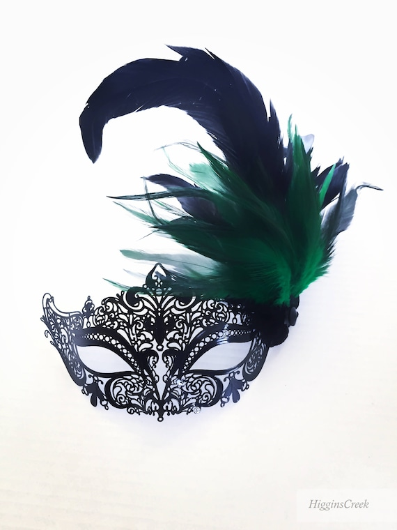 Emerald Green Feather Masquerade Mask Green Mardi Gras Masks | Etsy