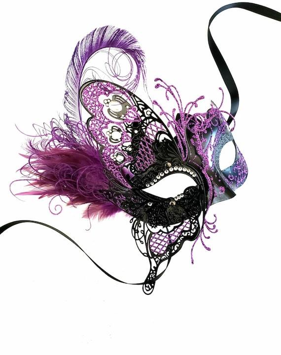 Women/'s Masquerade Mask Animal Masquerade Mask Halloween Purple Ball Mask
