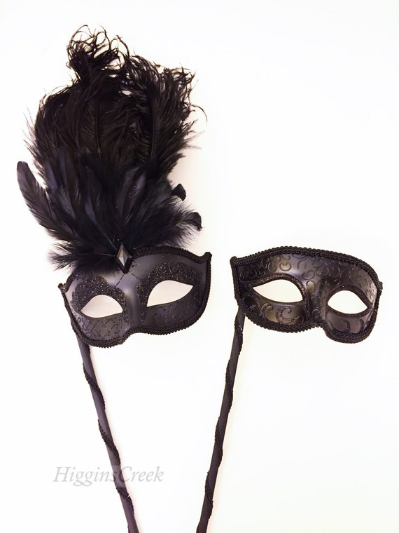 More Colors Feather masquerade mask women stick mask or ribbon mask