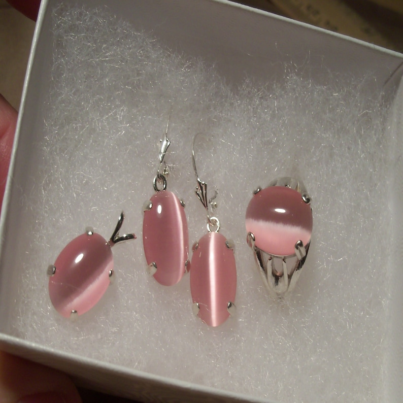 Pendant and earrings Includes a Beautiful ring ST09 Pink Dale Stone Set in Sterling Silver