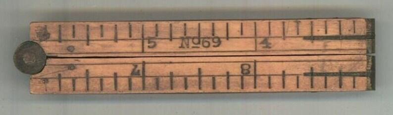 Stanley No 69 folding ruler pocket vintage carpenter measuring tool antique tool