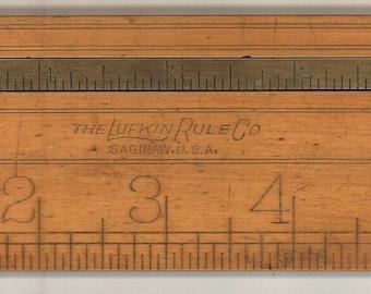Lufkin vintage folding ruler caliper brass boxwood tool measuring Saginaw antique carpenter pocket