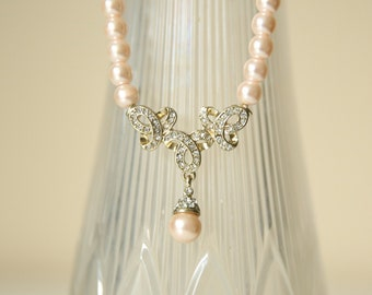 Light Pink Pearl Necklace, Pearl Necklace, Rose pearls, pink pearls, Costume Jewelry, tear drop pearl necklace